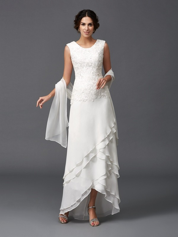 Chiffon Scoop Ankle-Length Ivory Mother of the Bride Dresses