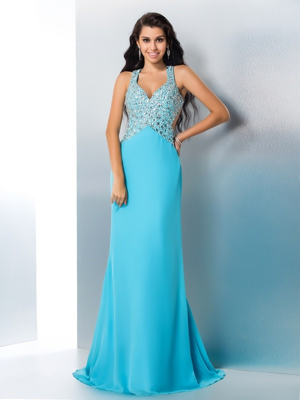 Blue A-Line Straps Brush Train Prom Dresses with Beading