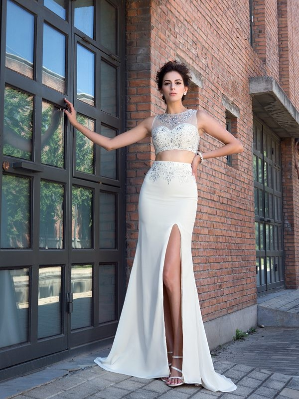 Chiffon Sheath Brush Train High Neck Ivory Prom Dresses