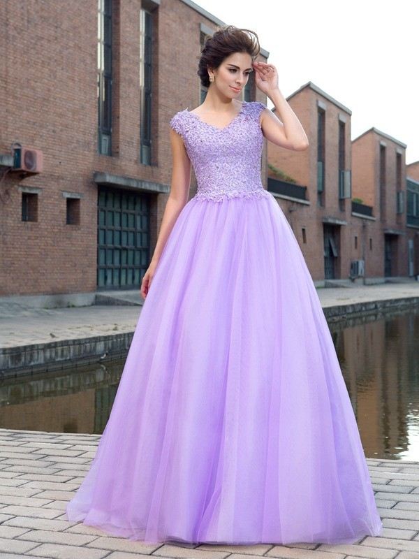 Short Sleeves Ball Gown V-neck Floor-Length Lavender Prom Dresses