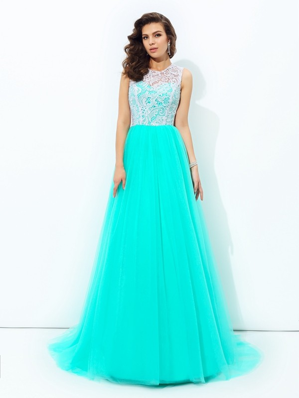 Net Scoop Brush Train Blue Prom Dresses