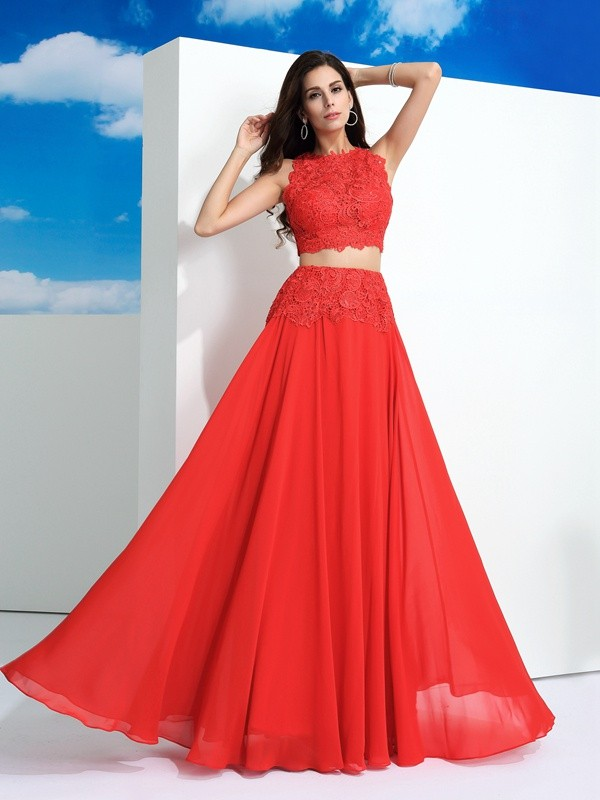 A-Line Chiffon Scoop Floor-Length Prom Dresses with Lace