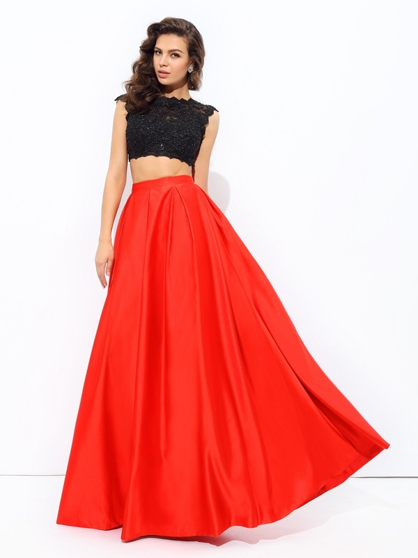 A-Line Scoop Floor-Length Red Prom Dresses
