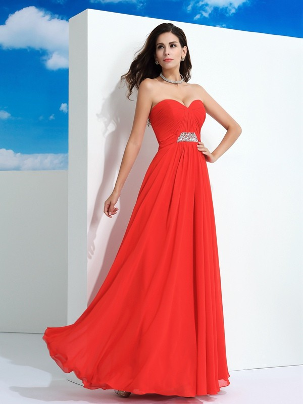A-Line Sweetheart Floor-Length Red Prom Dresses