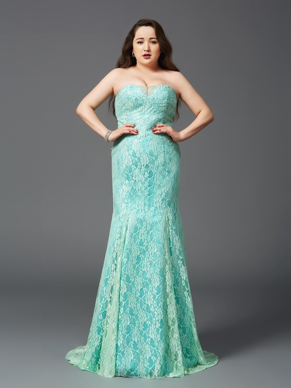 Other Sheath Strapless Court Train Prom Dresses with Lace