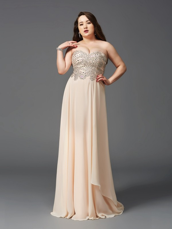 Sweetheart Brush Train Champagne Prom Dresses with Rhinestone