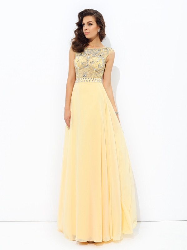 A-Line Chiffon Bateau Floor-Length Prom Dresses with Beading