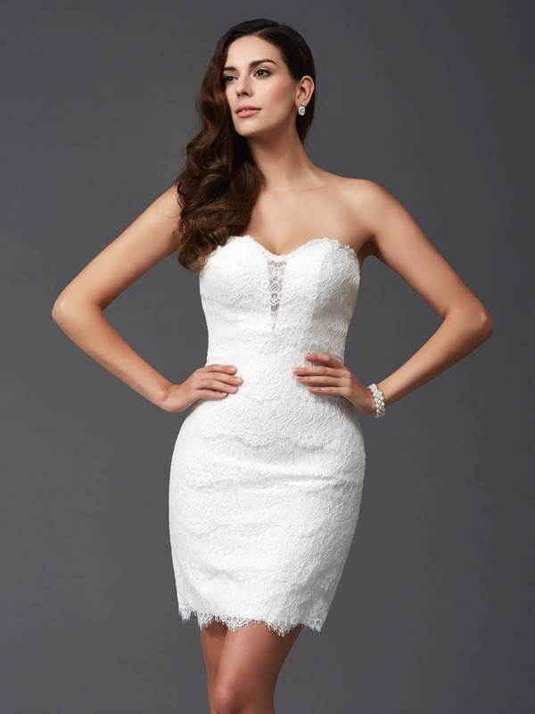 Lace Sweetheart Short/Mini Ivory Homecoming Dresses
