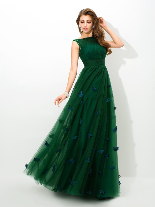 A-Line Net Sheer Neck Floor-Length Prom Dresses with Beading