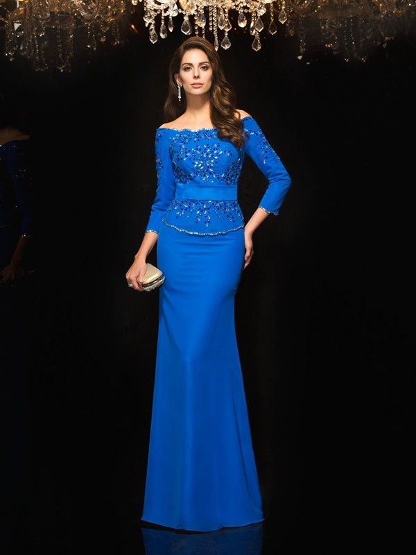 Floor-Length Royal Blue 3/4 Sleeves Off-the-Shoulder Prom Dresses with Beading