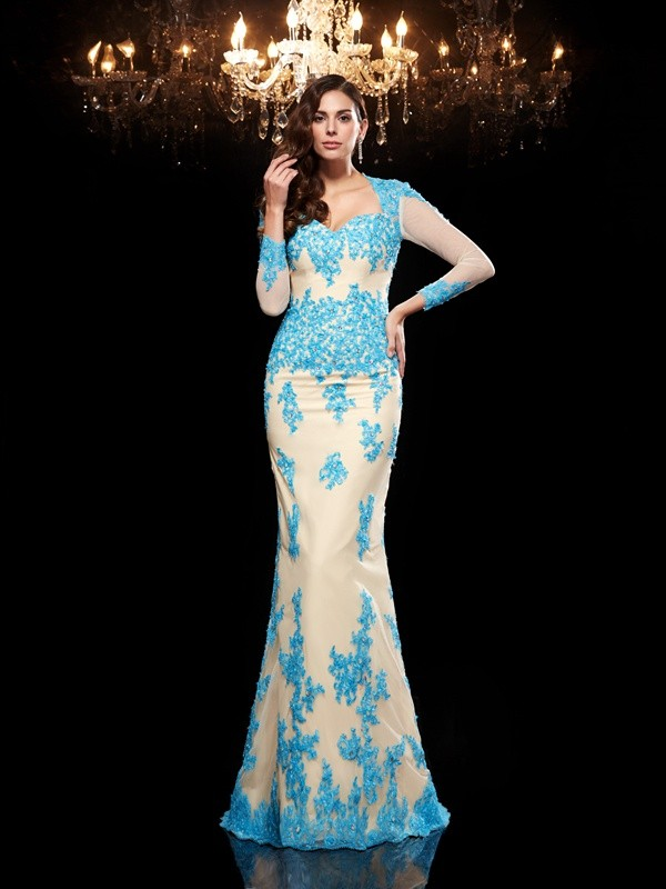 Mermaid Sweetheart Brush Train Blue Prom Dresses with Applique