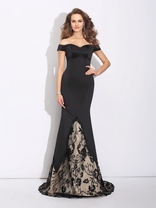 Mermaid Off-the-Shoulder Brush Train Black Prom Dresses with Lace