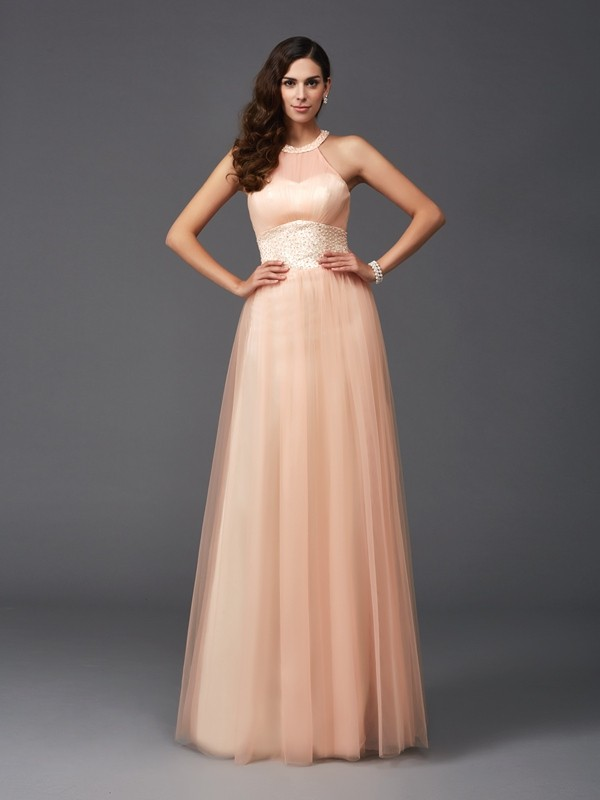 A-Line Halter Floor-Length Other Prom Dresses with Beading