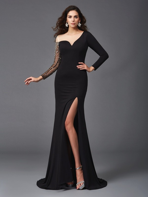 3/4 Sleeves Sheath Scoop Brush Train Black Prom Dresses