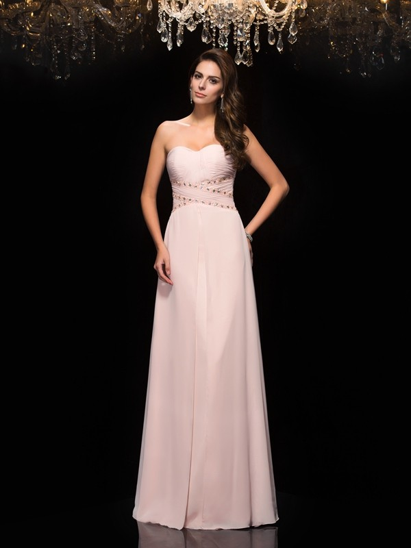 Sweetheart Floor-Length Pink Prom Dresses with Beading