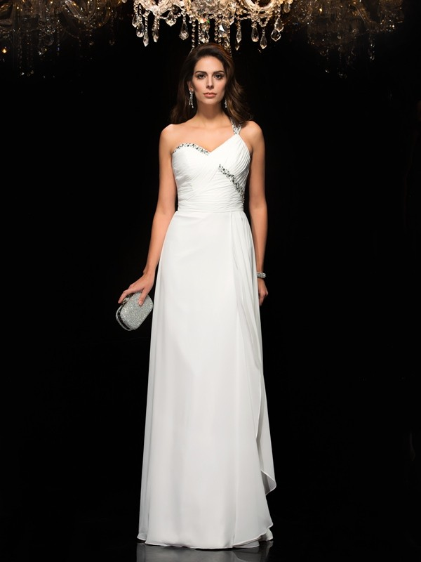 A-Line Chiffon One-Shoulder Floor-Length White Prom Dresses