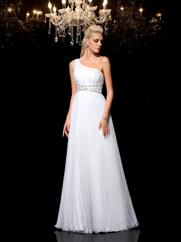 White One-Shoulder Organza Floor-Length Prom Dresses