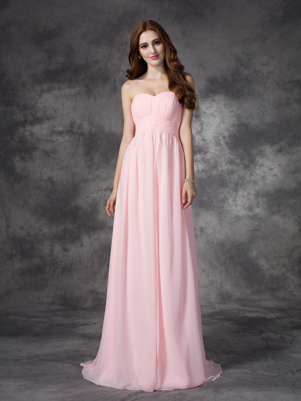 A-Line Sweetheart Brush Train Pink Prom Dresses with Ruched