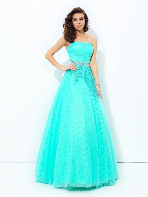 Elastic Woven Satin Strapless Floor-Length Blue Prom Dresses