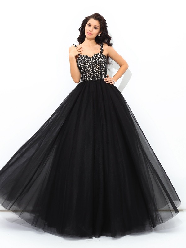 Ball Gown Net Straps Floor-Length Prom Dresses with Applique