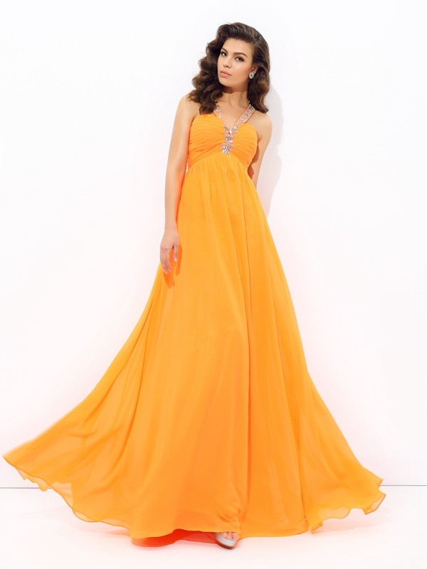 A-Line V-neck Floor-Length Orange Prom Dresses