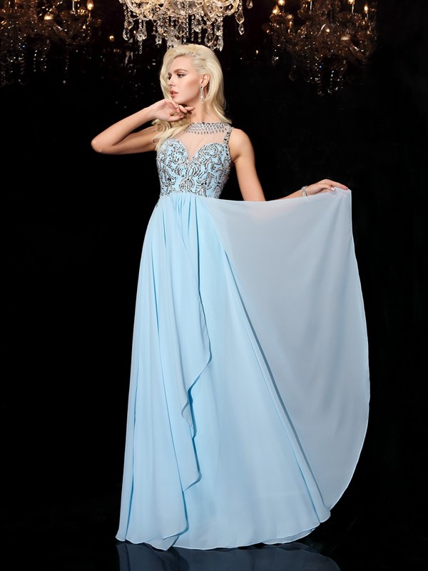 A-Line Scoop Floor-Length Light Sky Blue Prom Dresses