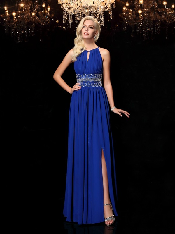 A-Line Jewel Floor-Length Royal Blue Prom Dresses