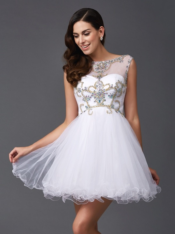 Net Scoop Short/Mini White Prom Dresses