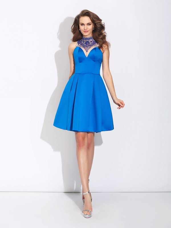 Short/Mini Royal Blue High Neck Prom Dresses with Beading