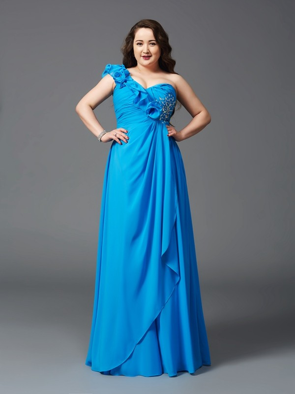 A-Line Chiffon One-Shoulder Floor-Length Royal Blue Prom Dresses