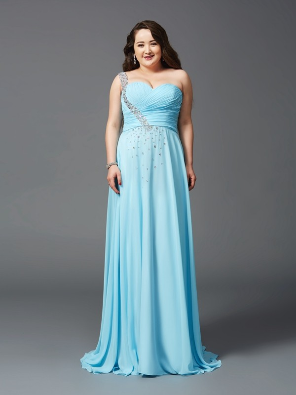 A-Line One-Shoulder Brush Train Light Sky Blue Prom Dresses