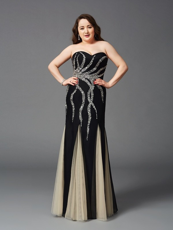 Floor-Length Black Sweetheart Prom Dresses with Beading