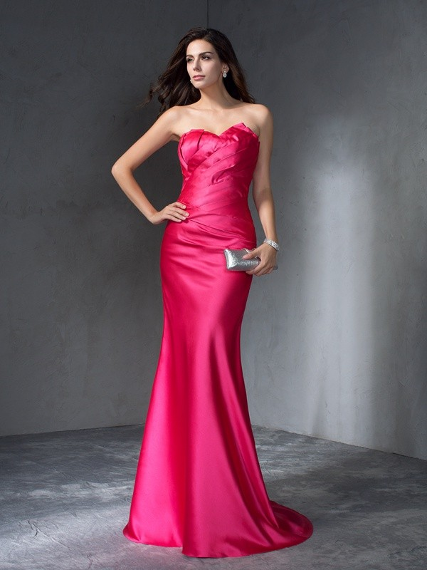 Mermaid Sweetheart Brush Train Fuchsia Prom Dresses