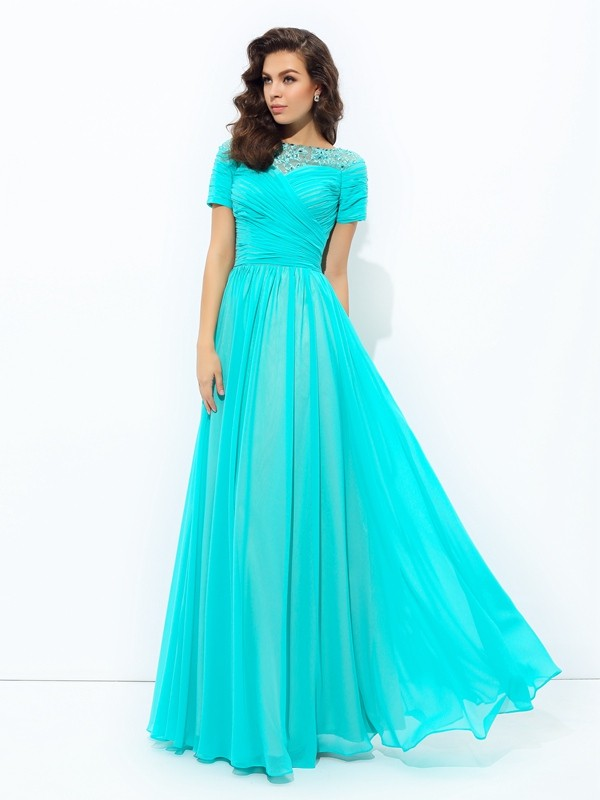 Chiffon A-Line Floor-Length Short Sleeves Bateau Other Prom Dresses