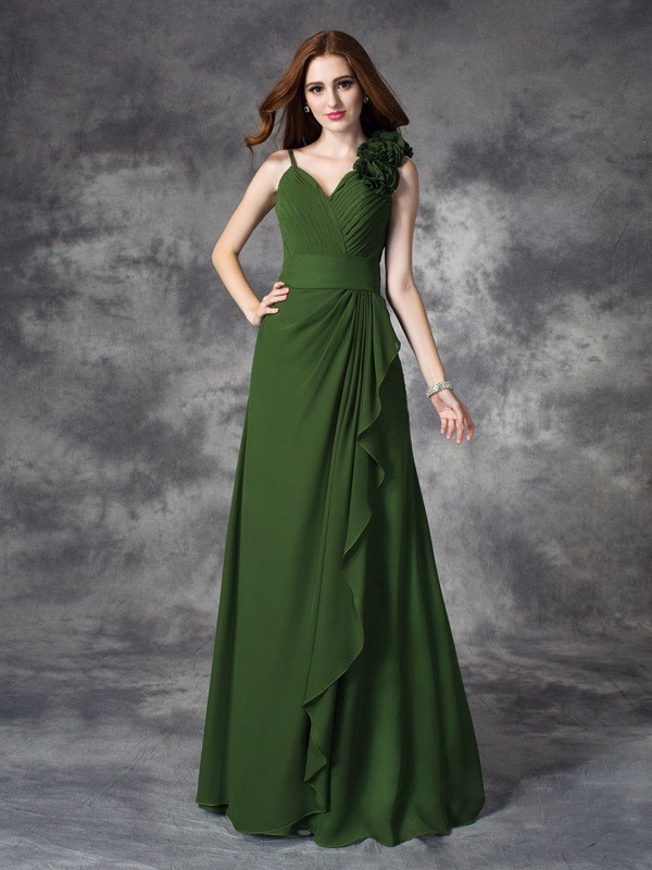 A-Line Chiffon V-neck Floor-Length Green Bridesmaid Dresses