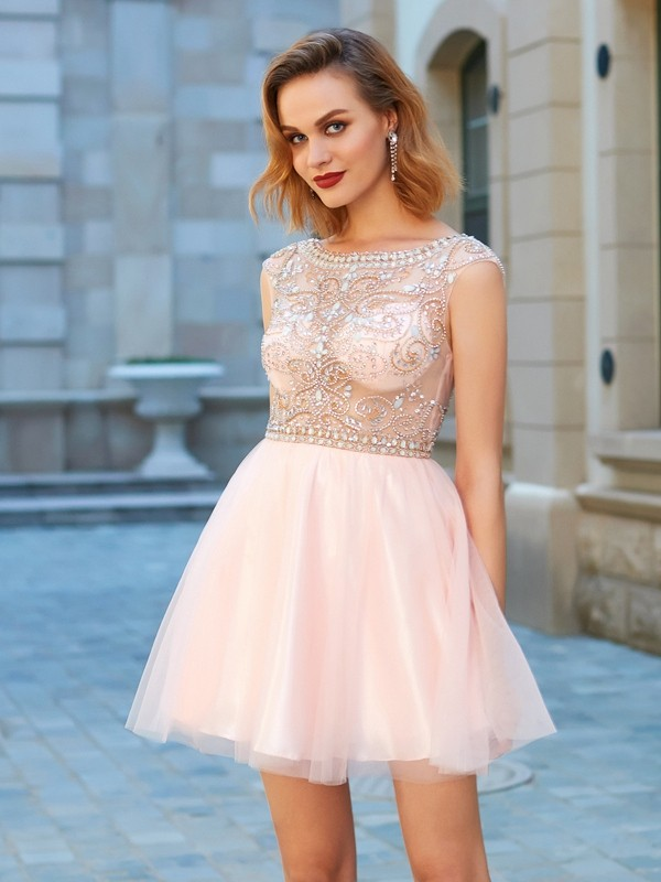 Short Sleeves Scoop Short Pink Homecoming Dresses with Beading