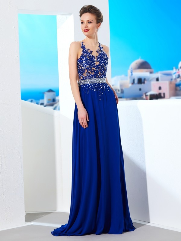Chiffon Sheer Neck Brush Train Royal Blue Prom Dresses