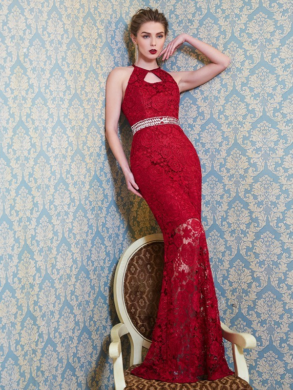 Jewel Floor-Length Red Prom Dresses with Beading