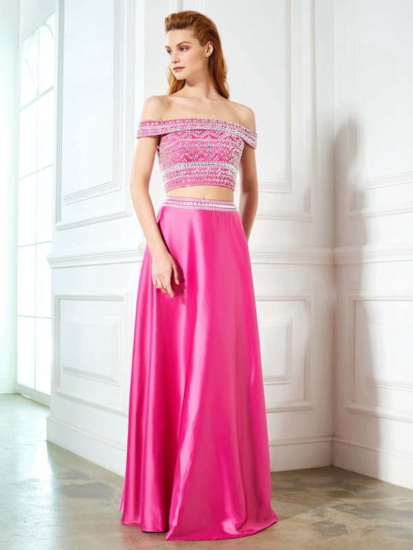A-Line Satin Off-the-Shoulder Floor-Length Fuchsia Prom Dresses