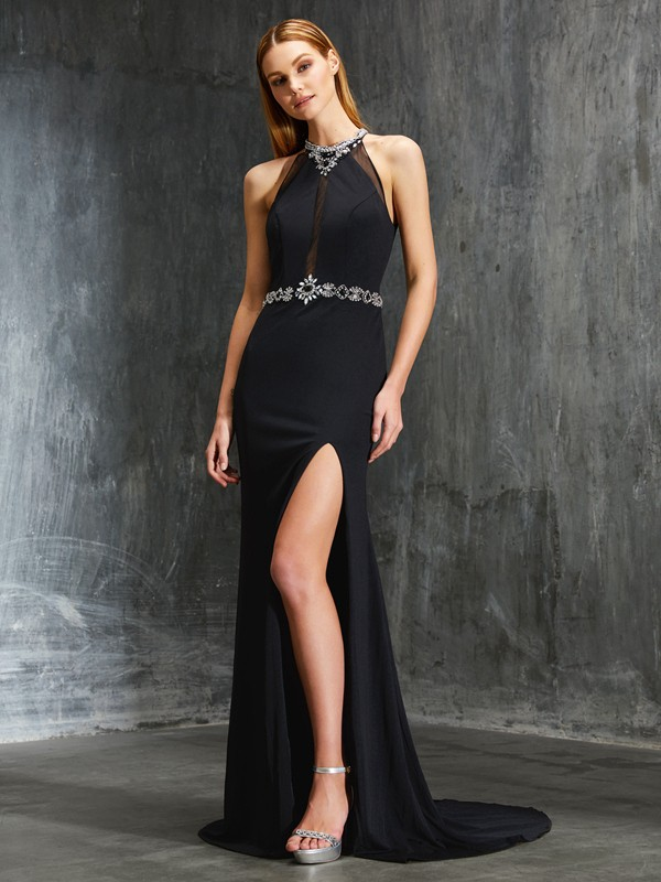 Spandex High Neck Brush Train Black Prom Dresses
