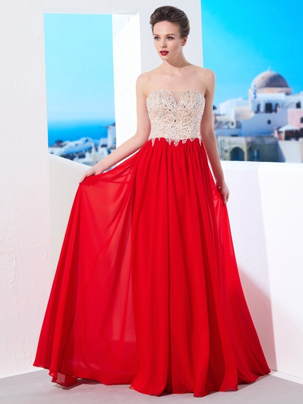 Brush Train Red Strapless Prom Dresses with Beading