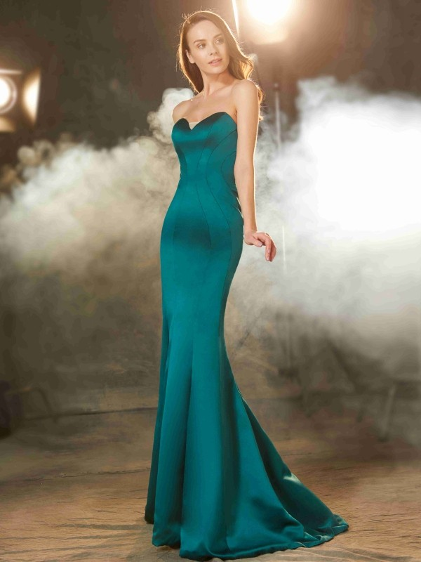 Mermaid Sweetheart Brush Train Dark Green Prom Dresses