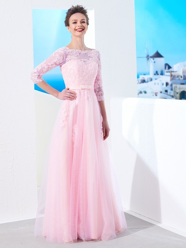 A-Line Half Sleeves Bateau Floor-Length Pink Prom Dresses