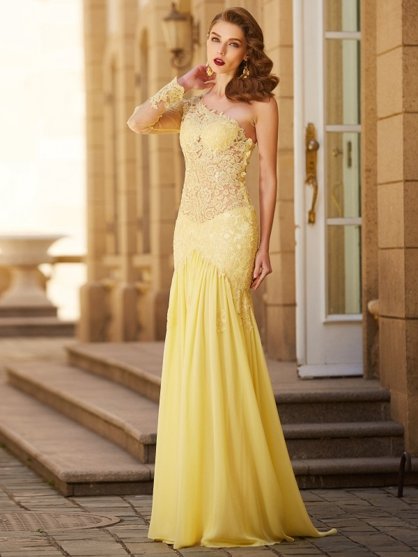 Long Sleeves One-Shoulder Brush Train Yellow Prom Dresses with Lace