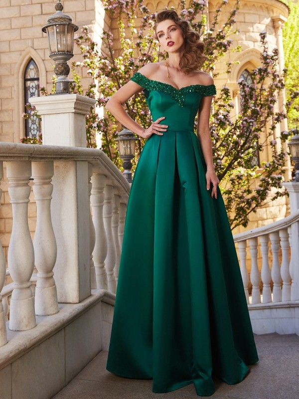 A-Line Off-the-Shoulder Floor-Length Dark Green Prom Dresses