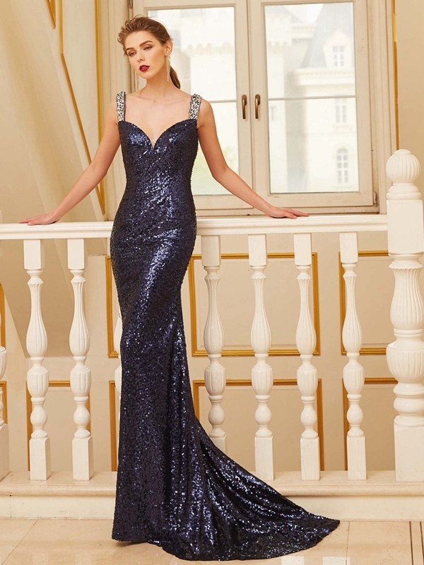 Sequins V-neck Brush Train Dark Navy Prom Dresses