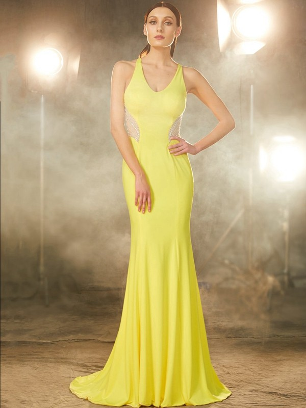 Mermaid Spandex V-neck Brush Train Yellow Prom Dresses