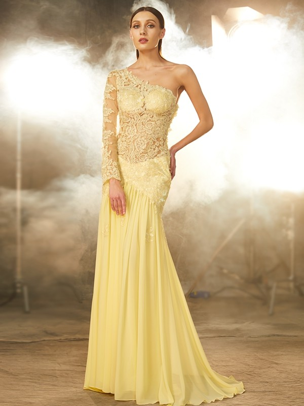 Yellow One-Shoulder Chiffon Brush Train Prom Dresses