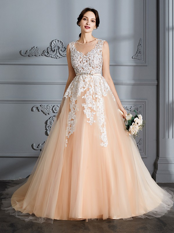 Scoop Court Train Champagne Wedding Dresses