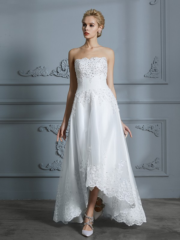 A-Line Tulle Sweetheart Asymmetrical Wedding Dresses with Beading